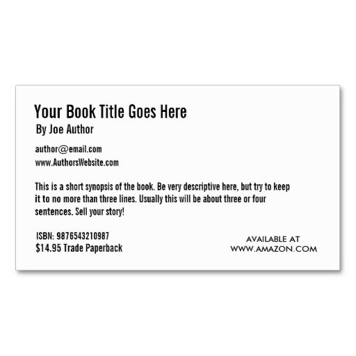 Book Promotion Business Card Template Writing Pinterest - promotions specialist sample resume