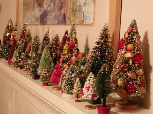 image christmas bristle trees | Vintage Christmas Decorations – collection of bristle trees ...
