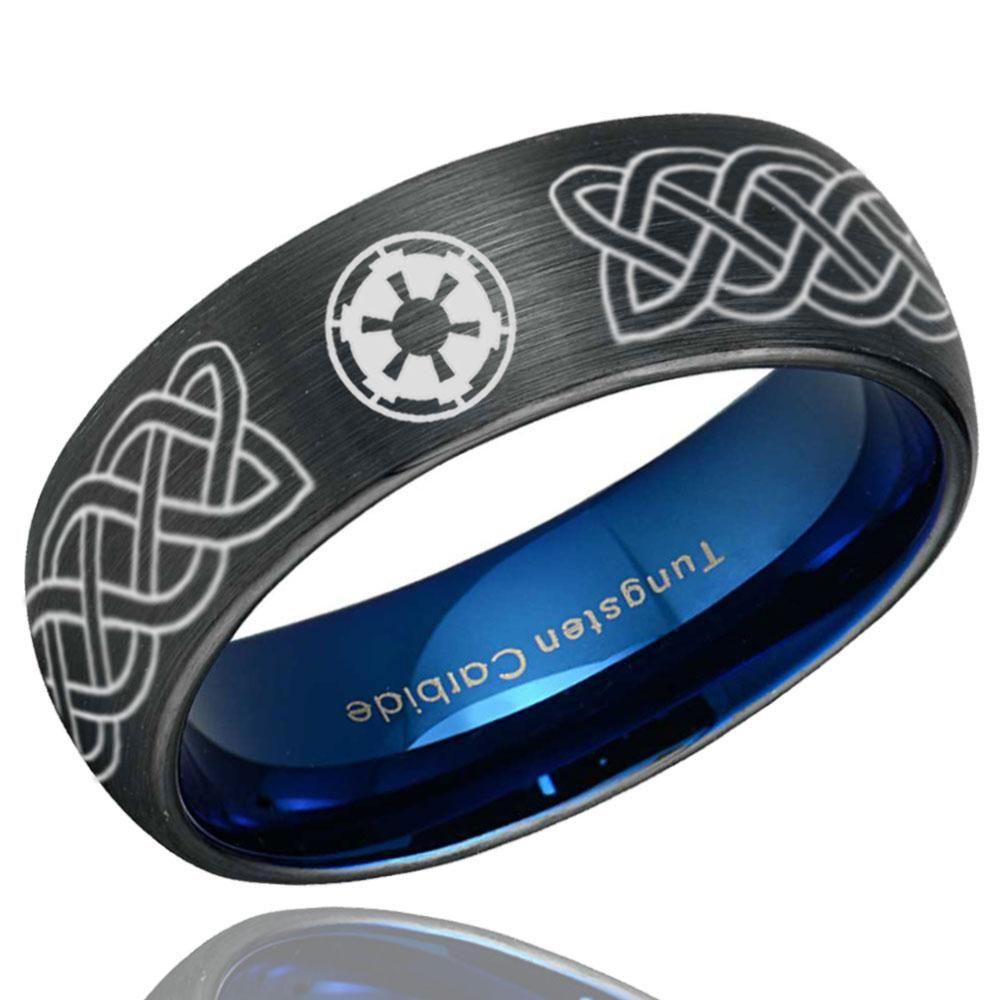 8mm Tungsten Carbide Blue Beveled Star Wars Empire Engagement Ring