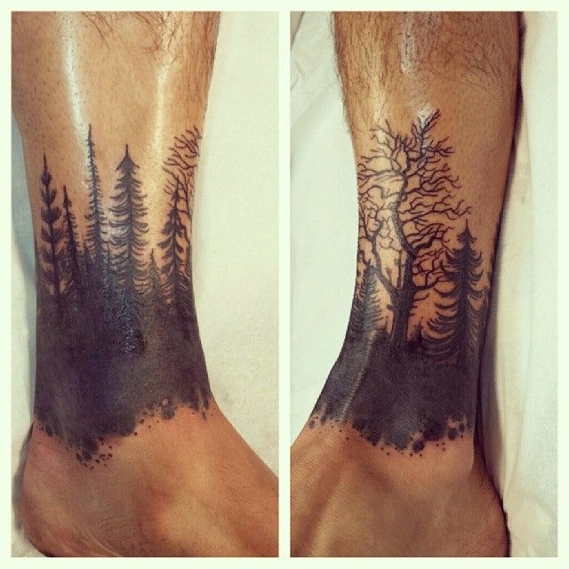 Forest Ankle Band Silhouette Black Work Andy Howl Tattoo Artist Howl Gallery Tattoo Ft Myers Florida Ankle Band Tattoo Ankle Tattoo Band Tattoo