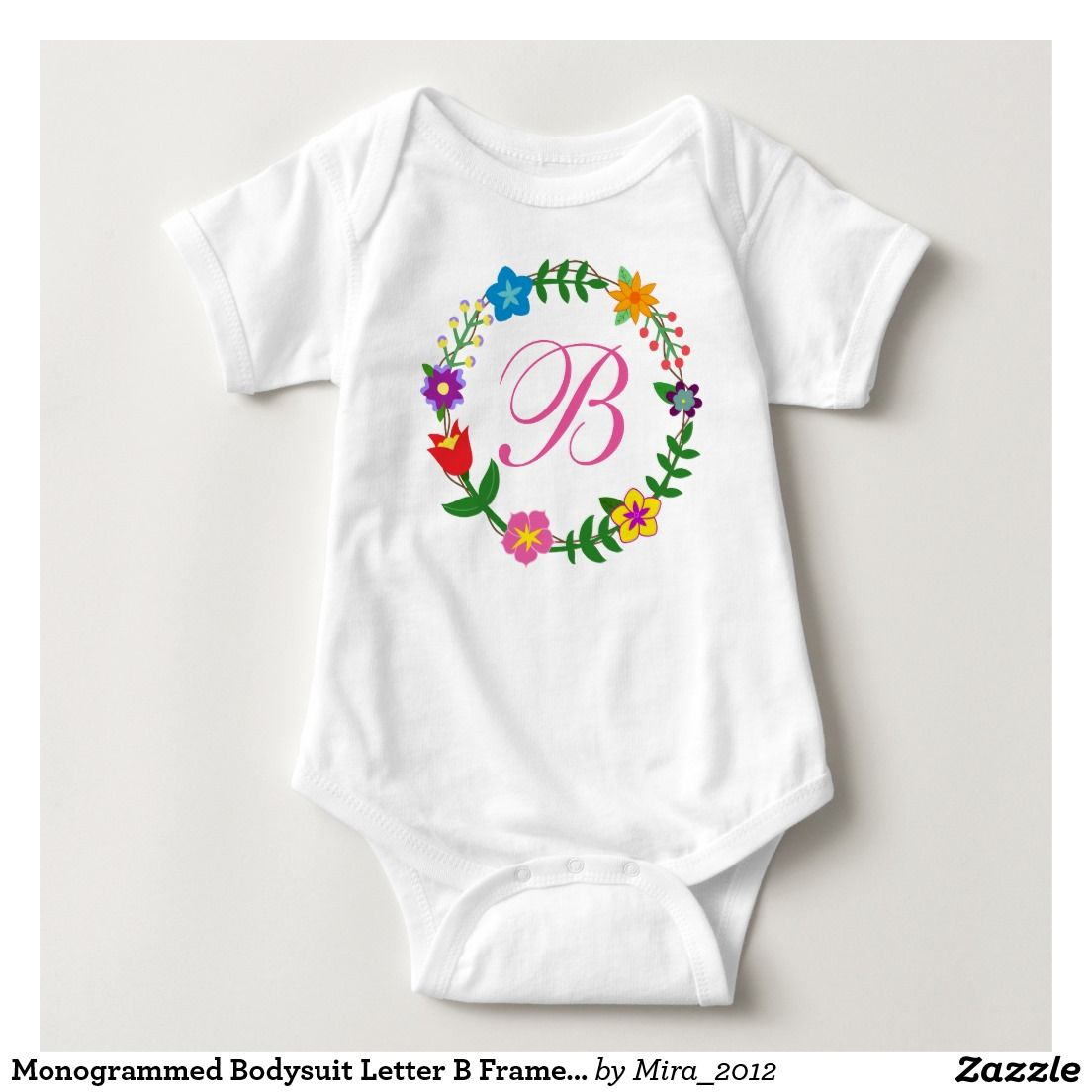 Monogrammed Bodysuit Letter B Frame Flowers. great gift for new baby girls named bailey, barbra, barbara, beyonce, beata, beatrice, beatrix, bela, bella, belinda, benedicta, bernadette, bernadetta, bernadine, berri, berry, berthe, bethany, bette, bianca, you name it ;) :D. note that there are two kinds of monogrammed bodysuits for each letter of the english alphabet