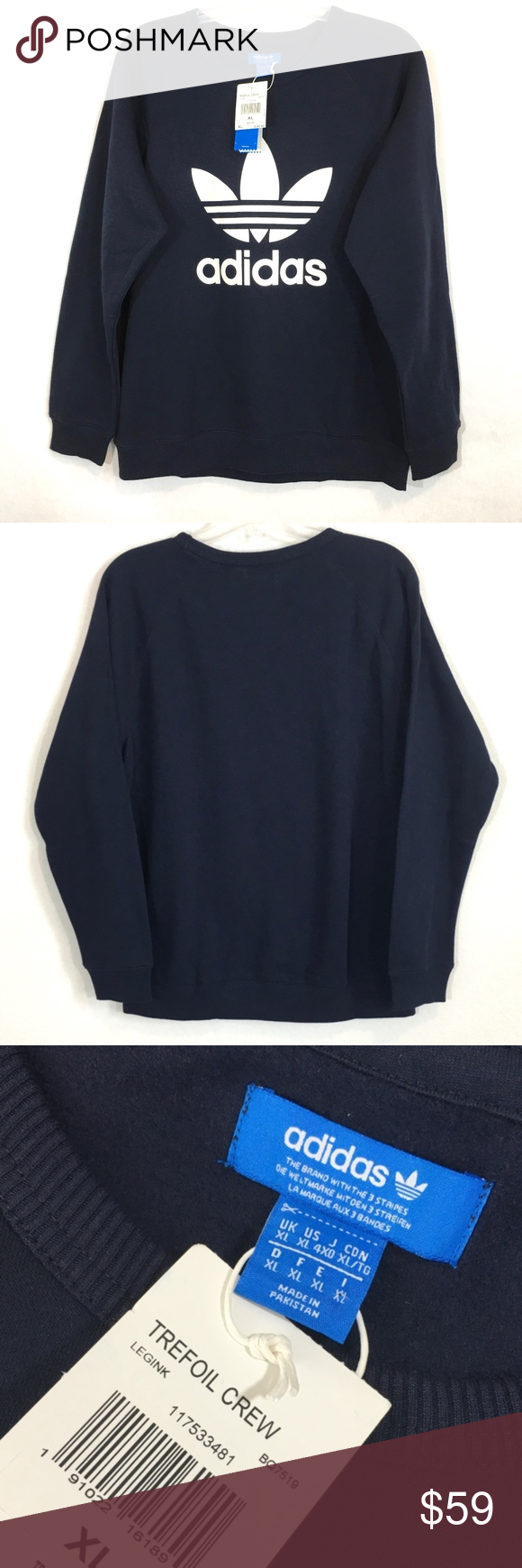 Adidas originals slim fit trefoil crew sweatshirt legend ink navy