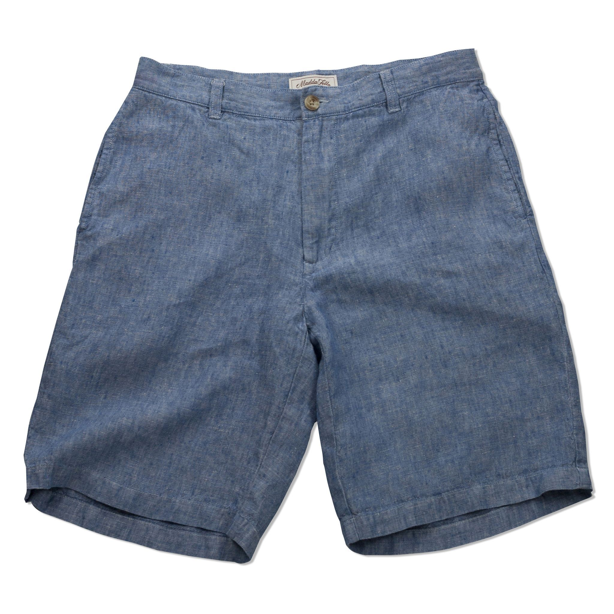 The Truman Washed Linen Shorts - Blue