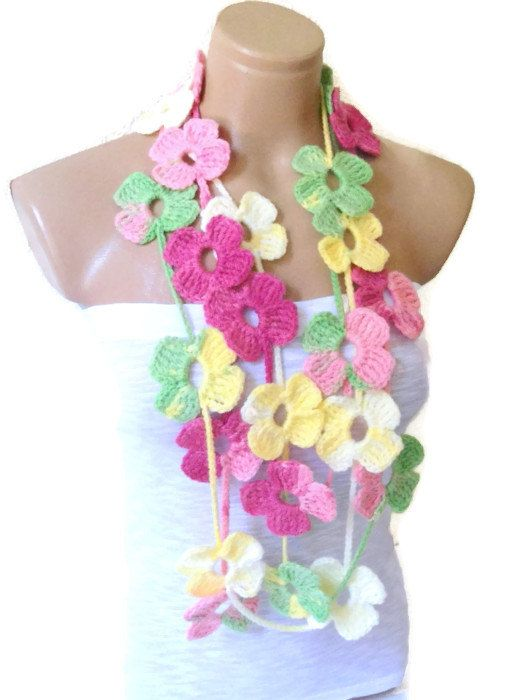 Crochet Lariat Necklace Flower Lariat Scarf Multicolor Scarf With
