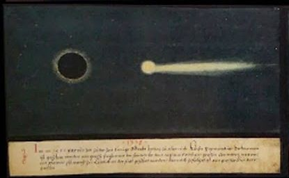 """1338 [in fact: 1438] -- """"In the year 1438, in the time of King Albrecht, Duke of Austria and son-in-law of Emperor Sigismund, a great darkening of the sun was seen in the daytime. And also a great comet with a tail was seen in the city of Liège. This was followed by great bloodshed"""" -- The Book of Miracles (f°64), ca 1552"""