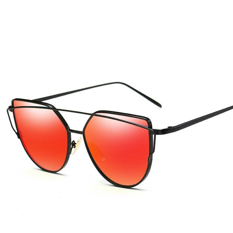 41289f8eedf Cat Eye Sunglasses Women Brand Vintage Fashion Rose Gold Mirror ...