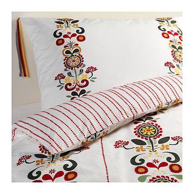 Ikea Akerkulla Reversible Floral Red Green Yellow Duvet Cover Pillowcase Twin Nw Ikea Duvet Cover Ikea Duvet Ikea Bed