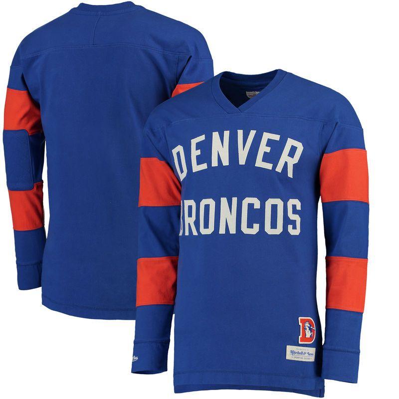 Denver Broncos Mitchell & Ness Field Goal Long Sleeve T-Shirt - Royal