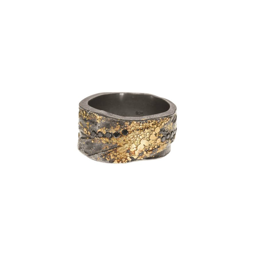 Trdrblk u ring u ky gold and sterling silver with patina