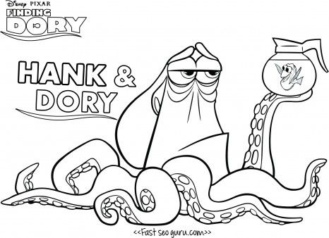Print Out Cartoon Finding Dory Hank Coloring Page For Kids Free
