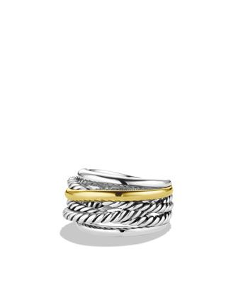 Crossover Narrow Ring with Gold by David Yurman at Neiman Marcus.