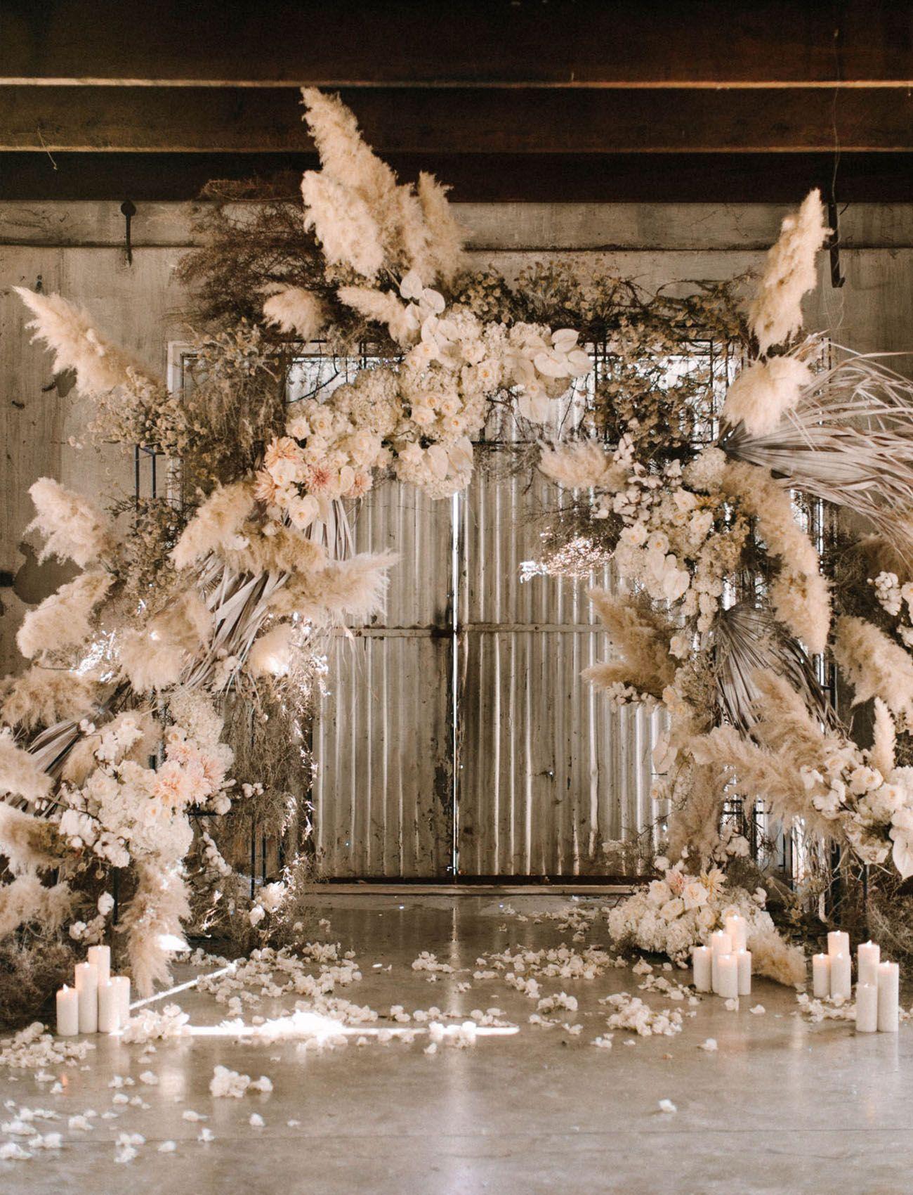 Boho Wedding Inspiration with an Abundance of White + Cream Textured Florals