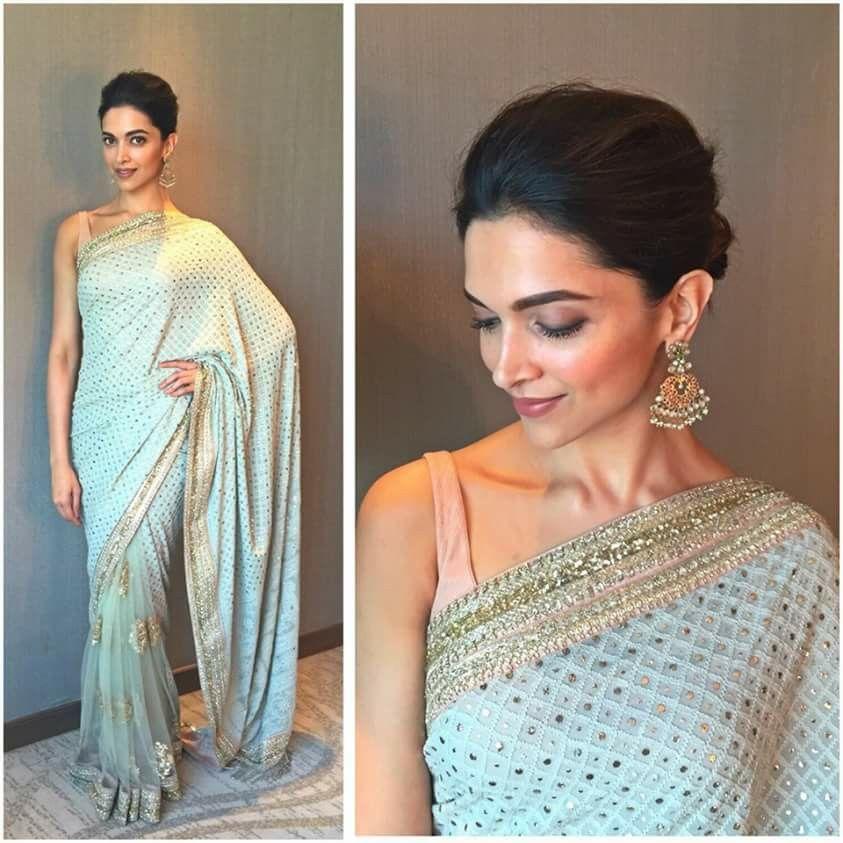Deepika Padukone gorgeous in pastel Saree   Bollywood designer ...