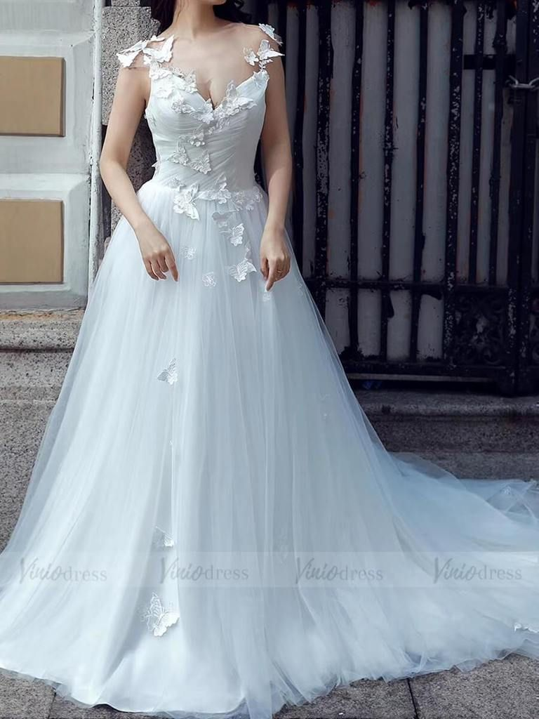 Cheap Tulle Beach Wedding Dresses Butterfly Applique