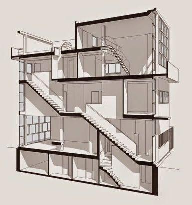 Maison Guiette Anvers Belgium 1926 Le Corbusier Architectural Section Architecture Model Light Architecture