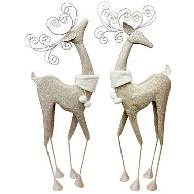 Holiday Time 2 Piece Fanciful Metallic Deer Set With Faux Fur Collar Sam S Club Christmas Reindeer Decorations Christmas Deer Reindeer Decorations