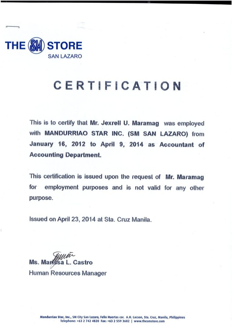 Certificate Of Employment Format Magdalene Project In Certificate Of Employment Template C Employment Certificate Of Achievement Template Business Template