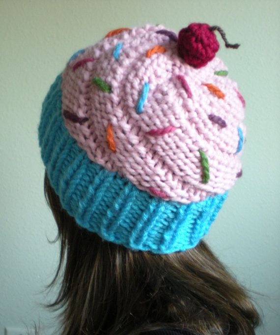 Reserved For Sheri Finta Light Pink Cupcake Hat In A Blue Wrapper