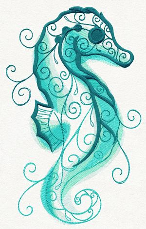 get swept away into a misty aquatic scene with this elegant seahorse