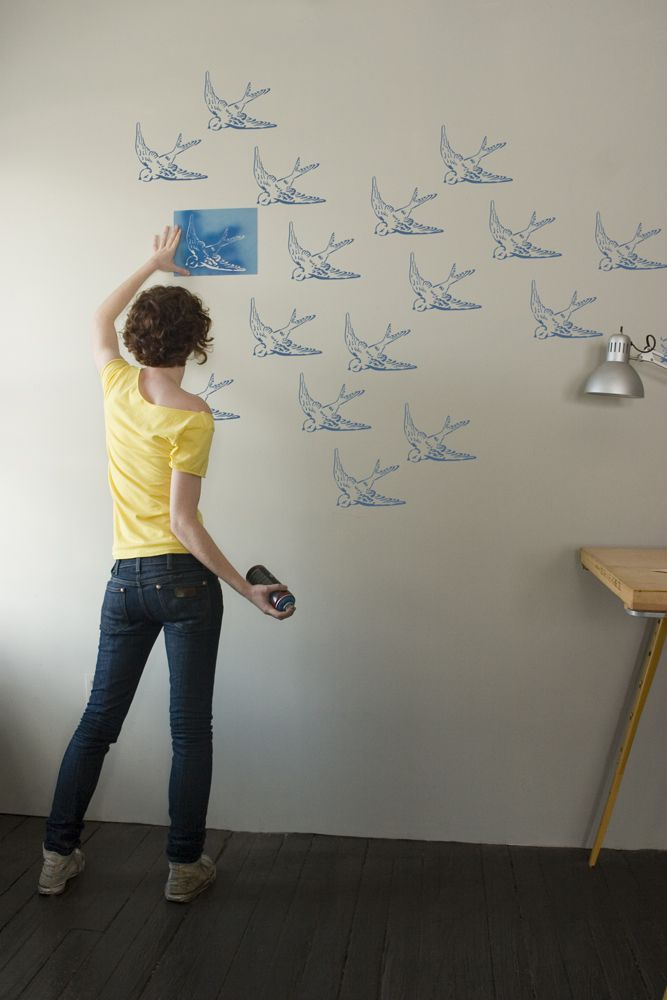 Swallow Stencil By Stencil1 Use Just One Stencil To Make A Flock Of