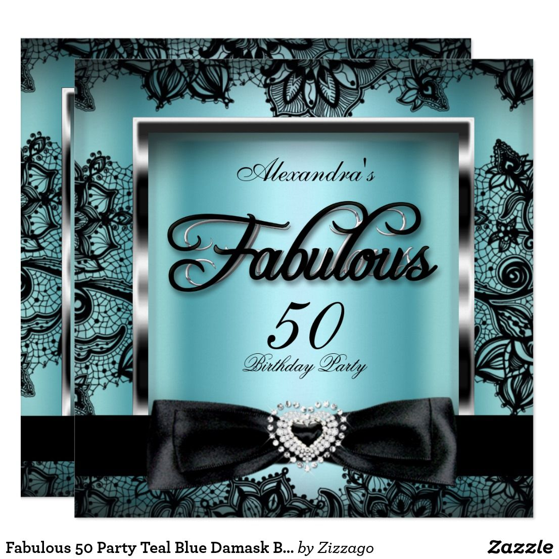 Fabulous 50 Party Teal Blue Damask Black Lace Invitation | Zazzle.com |  Lace invitations, 50th party, Teal invitations