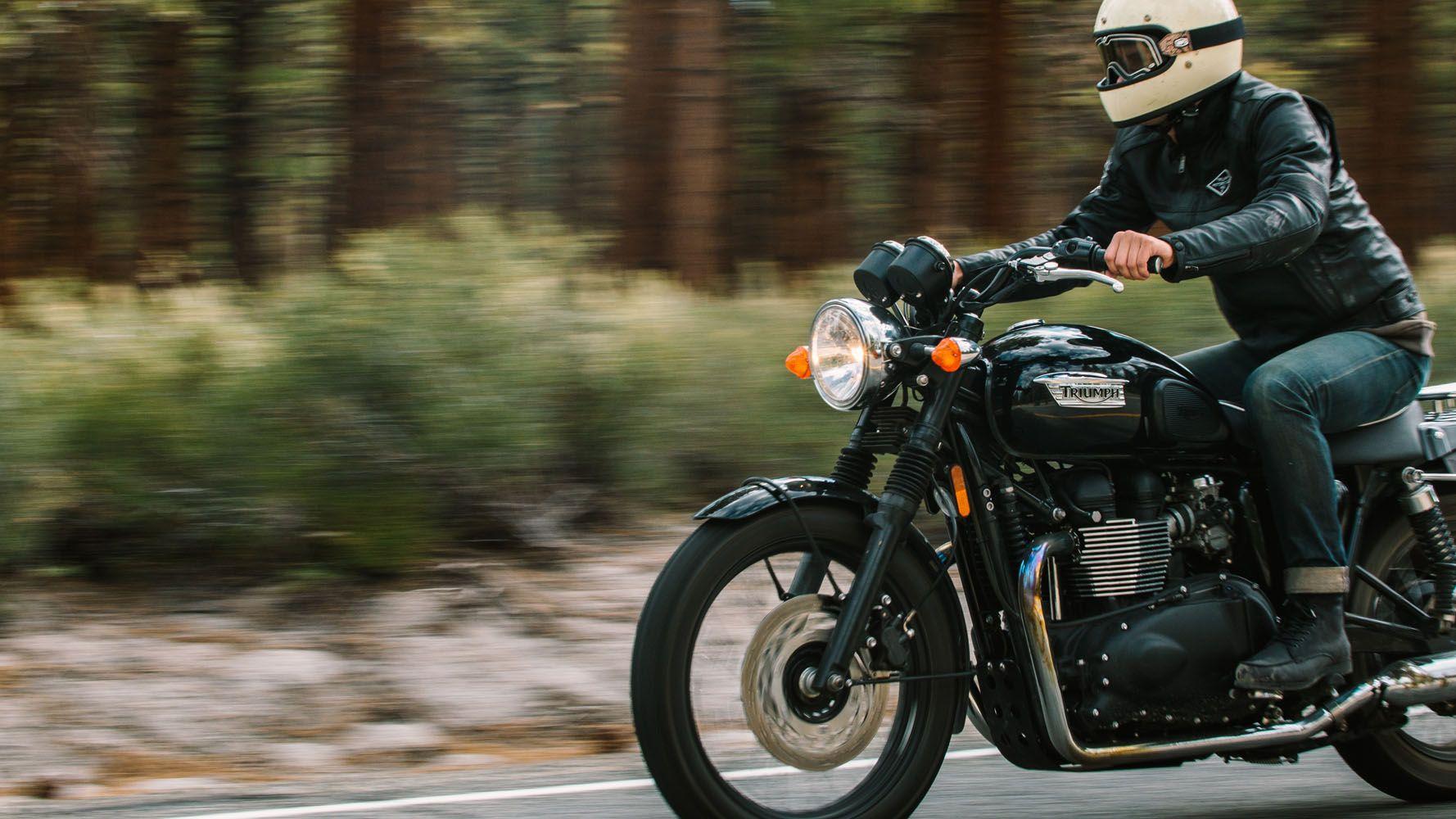 Triumph Custom Black Leather Motorcycle Jacket