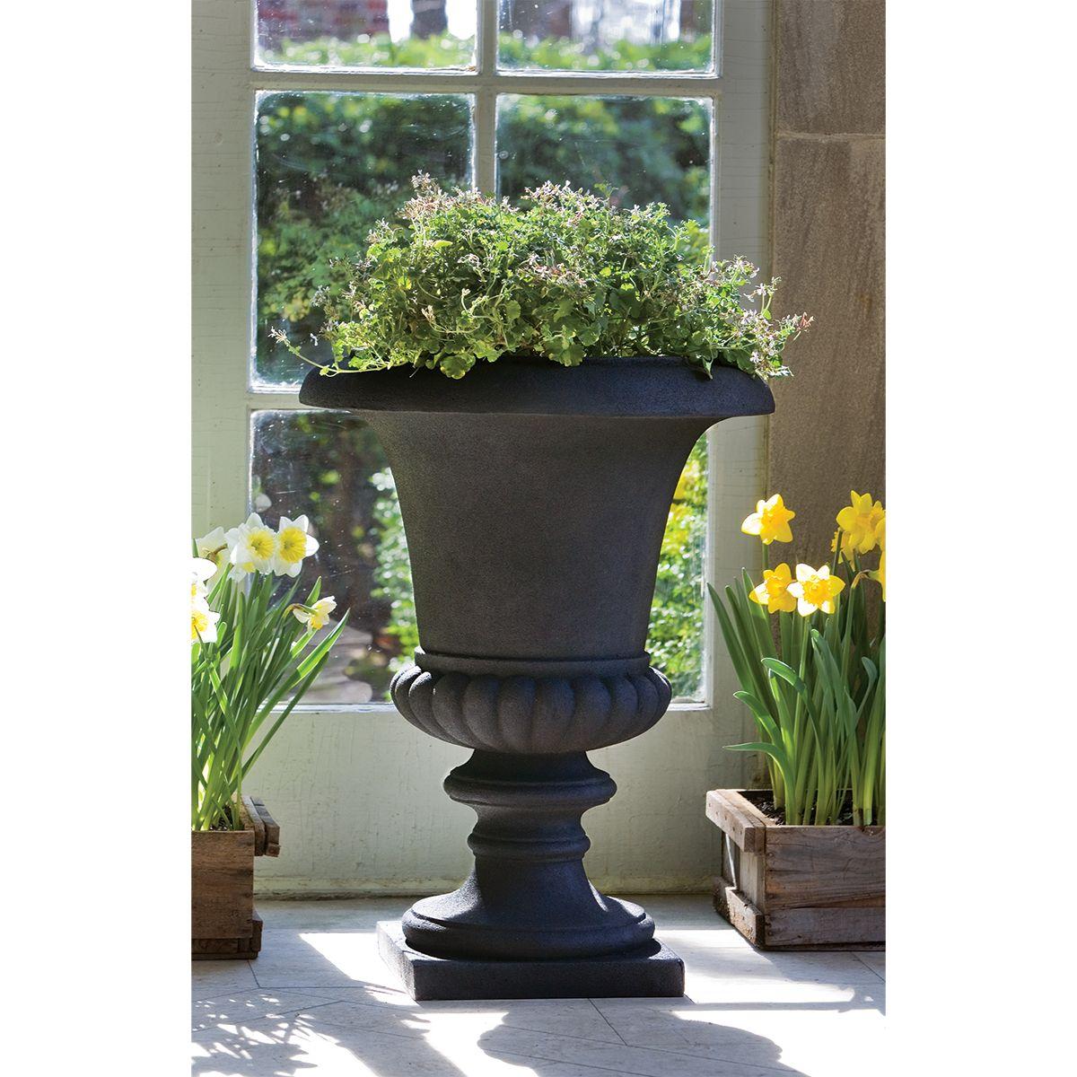 Morganna Lite Urn in Onyx   Garden & Patio Planter From Thos. Baker
