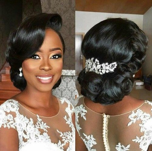 26 Beautiful Hairstyles For The African American Bride In 2020 Black Brides Hairstyles Natural Hair Bun Styles Natural Hair Styles