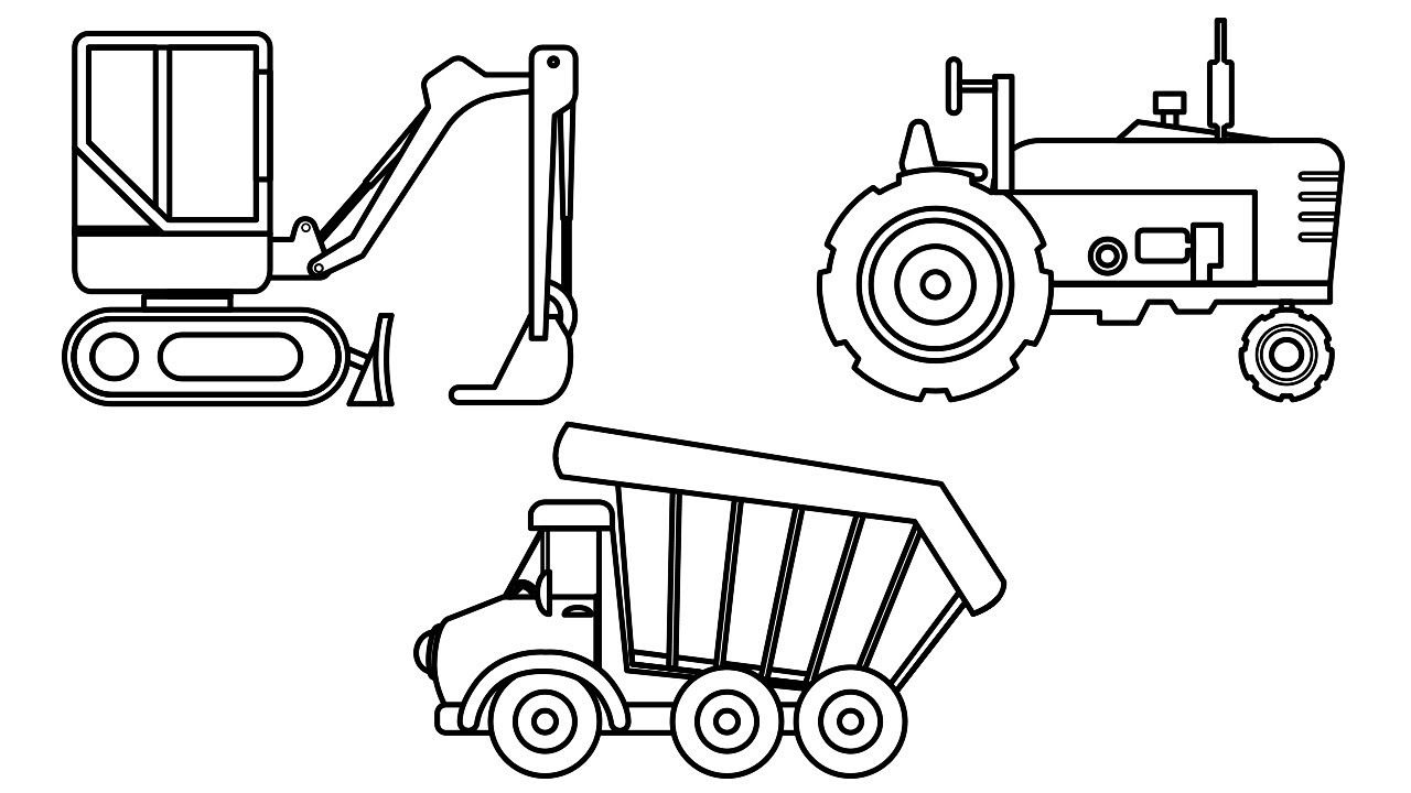 Small Excavator Dump Truck And Farm Truck Coloring Pages For Kids To L Truck Coloring Pages Cars Coloring Pages Coloring Pages For Kids