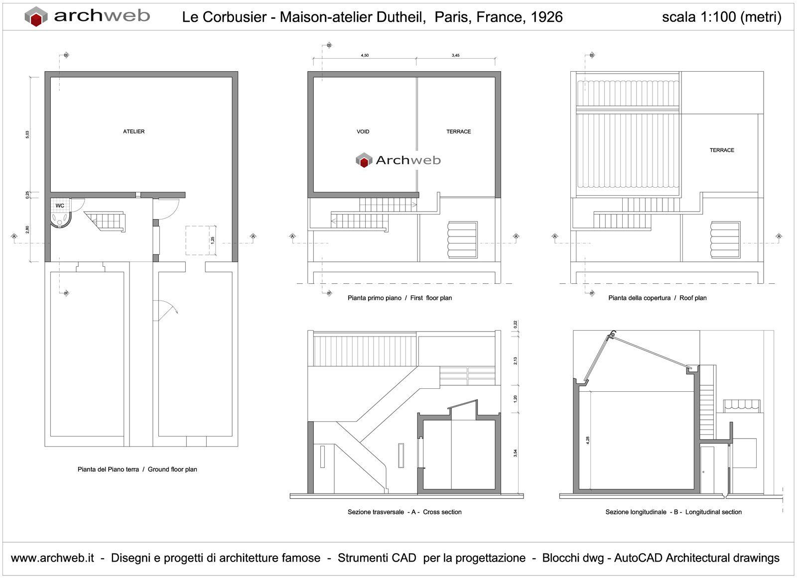 Maison atelier dutheil paris france 1926 le corbusier archweb 2d
