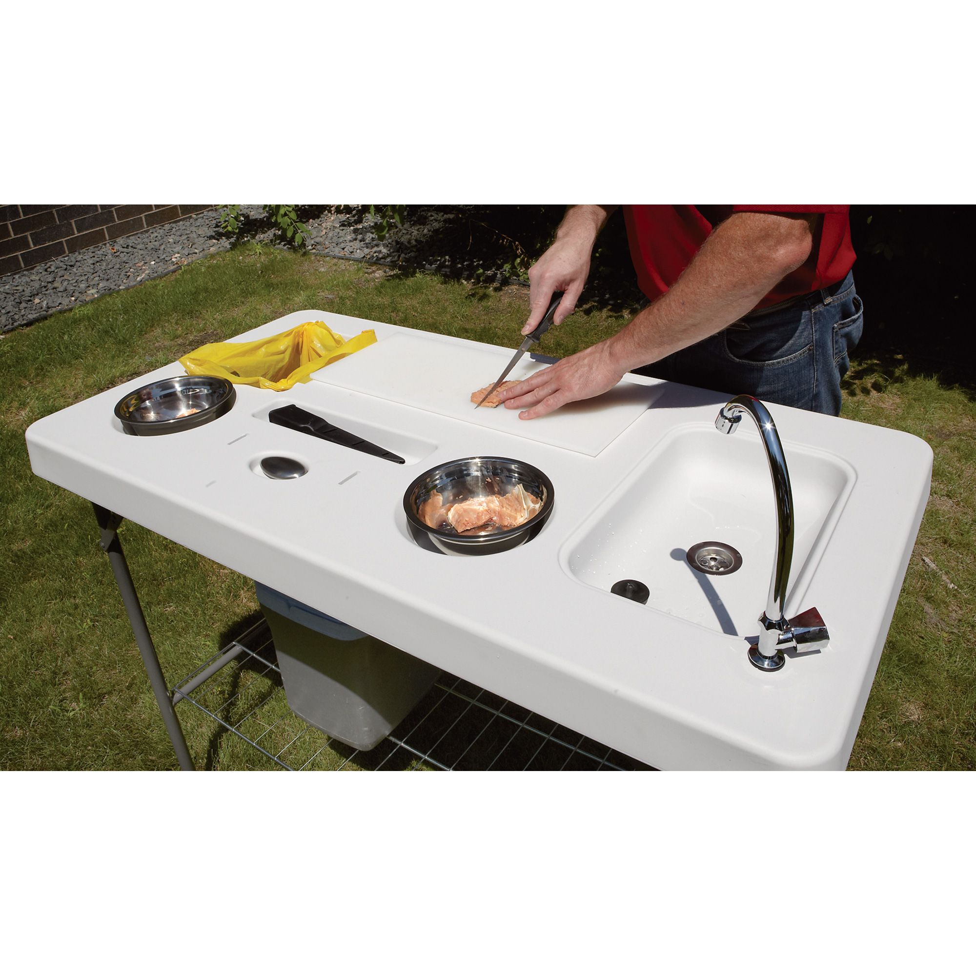 Portable Camp Fish Cleaning Table with Faucet — Deluxe | Camping ...