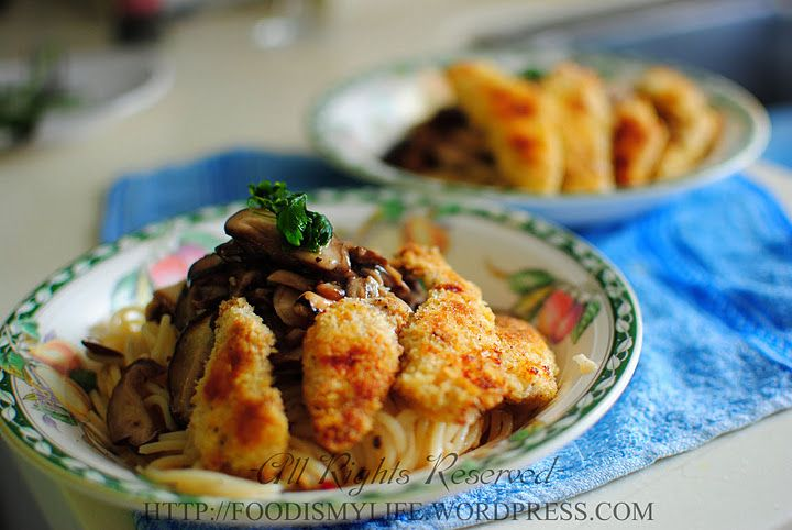 mushrooms aglio olio with baked chicken cutlets #recipe