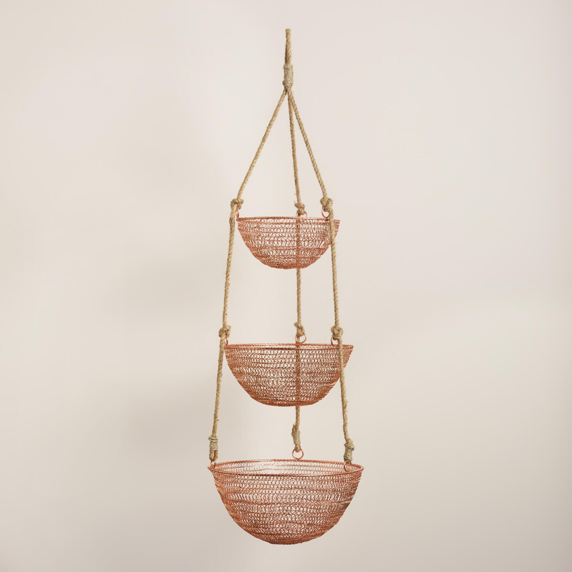Delightful Copper And Rope 3 Tier Hanging Basket