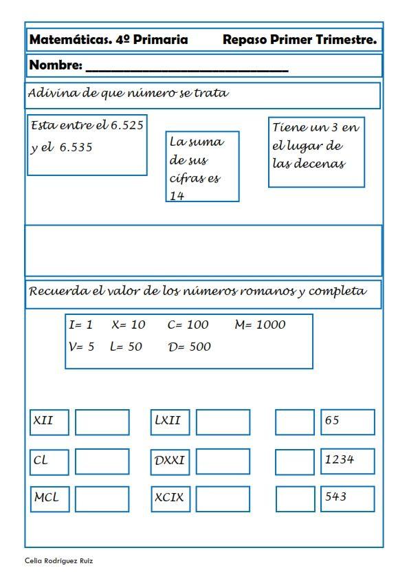 Matemáticas. Fichas para cuarto de primaria | desarrollo de la ...