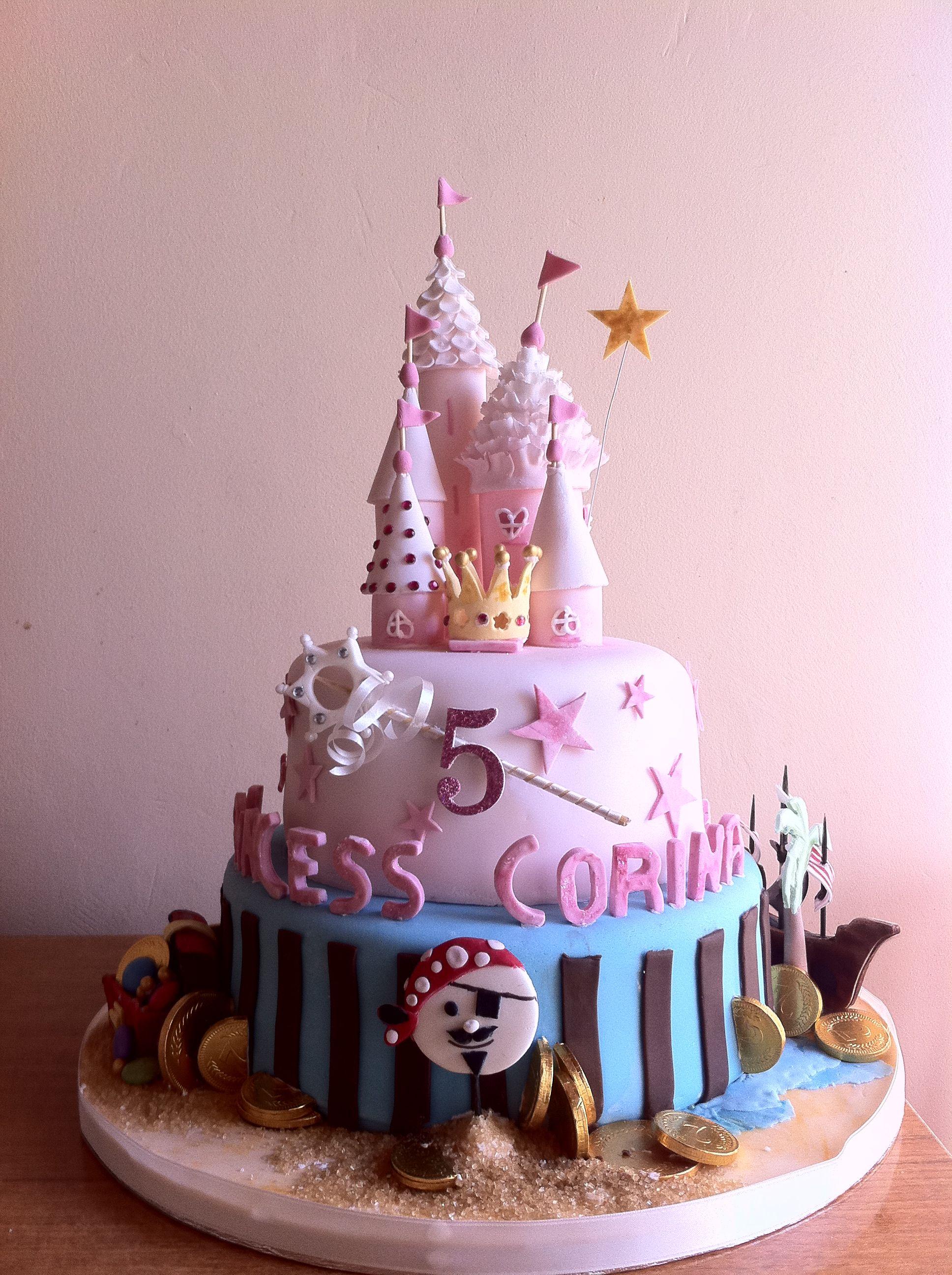 Cake ideas on pinterest pirate cakes marshmallow fondant and -  Princess Pirates Birthday Cake