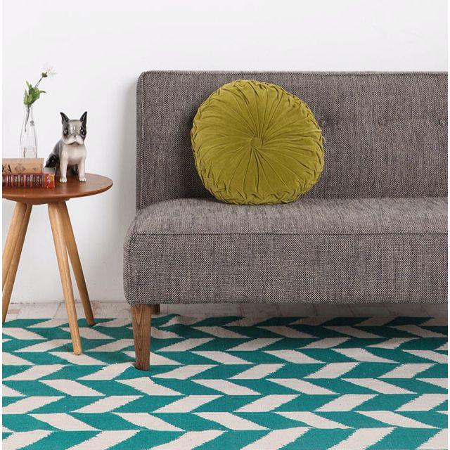 Rug With Turquoise Sofa: Herringbone Rug With Gray Sofa In Love!