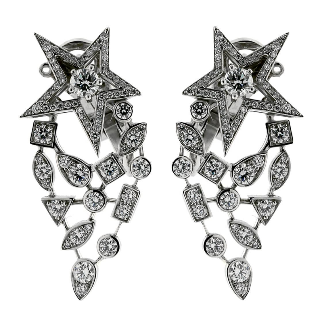 chanel comete diamond gold earrings exquisite jewelry. Black Bedroom Furniture Sets. Home Design Ideas