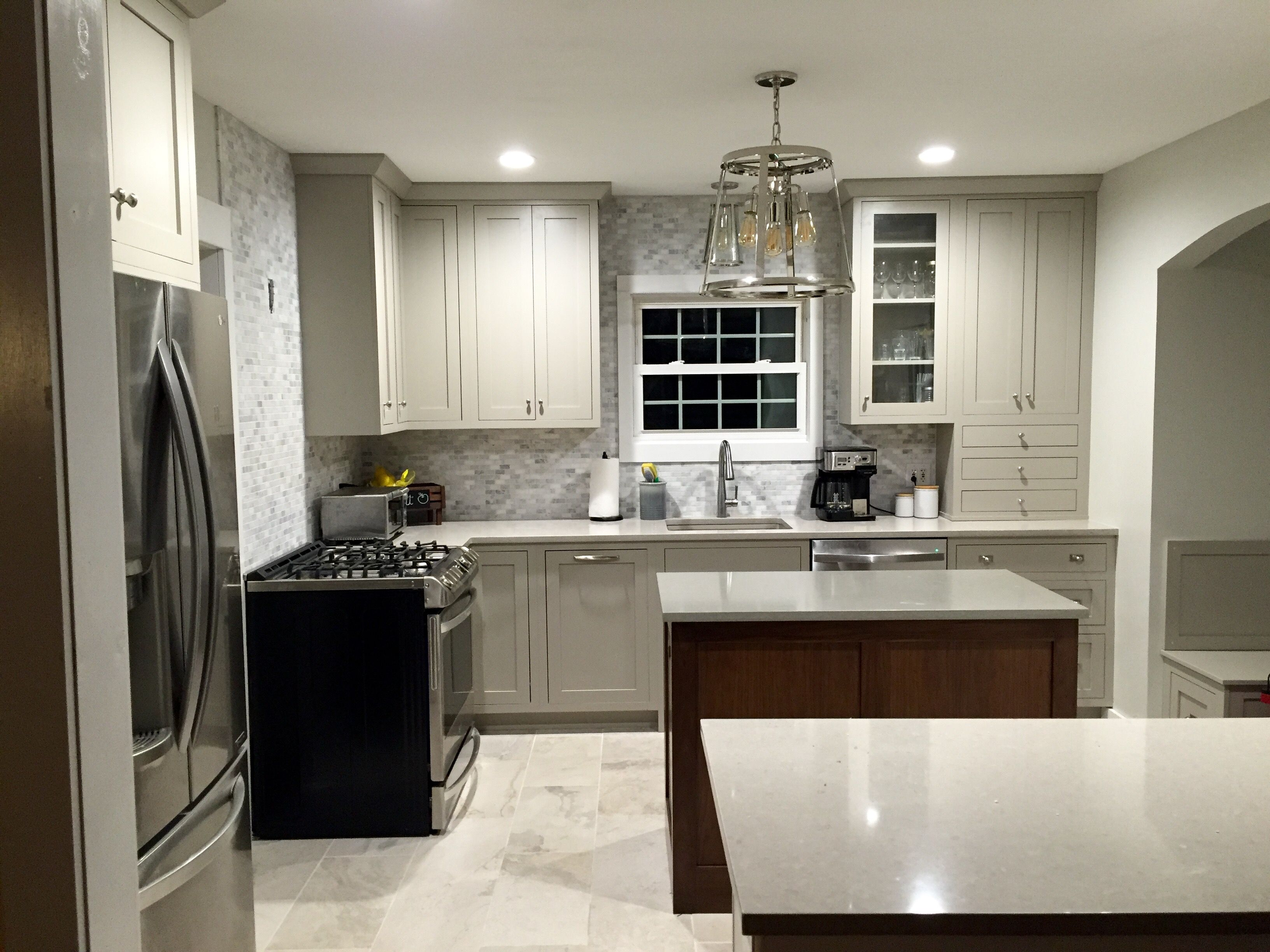 Grey Shaker Cabinets. Cottage Style Kitchen Conestoga Inset Shaker Cabinets.  Hearthstone Grey Perimeter.