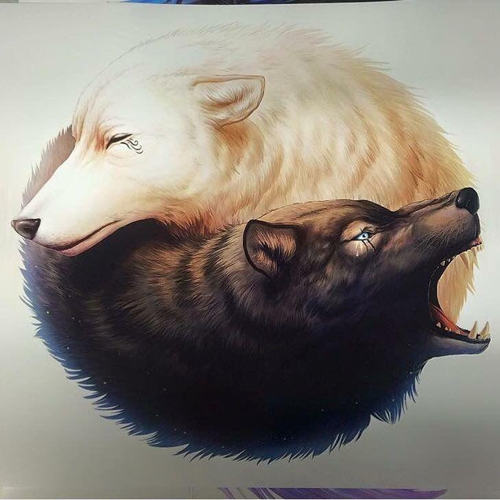 20170724 Wolf Yin Yang  Tatuajes de animales Dibujos bonitos de  animales Ying y yang