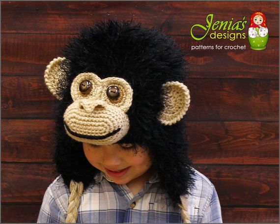 Crochet Monkey Hat for Boys and Girls Chimpanzee by JENIASdesigns