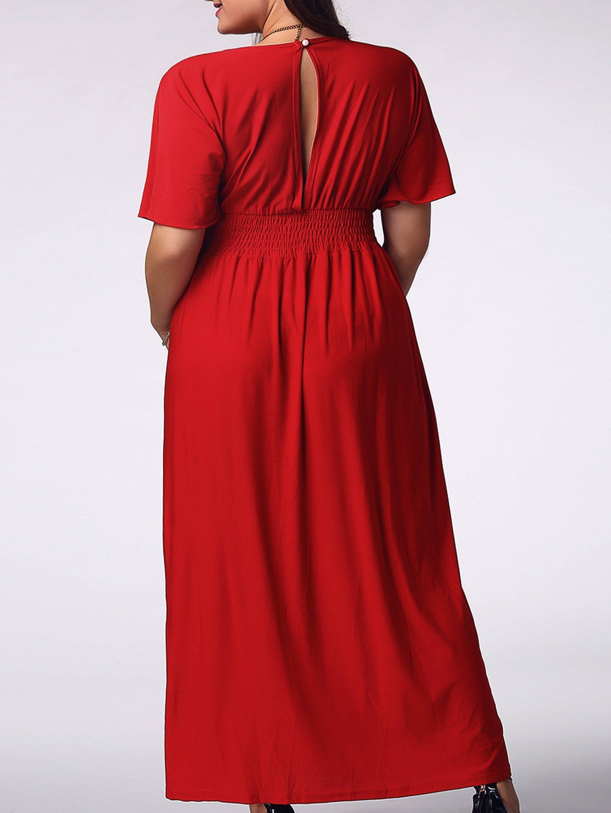 Elegant plus size plunging neck short sleeve solid color womenus