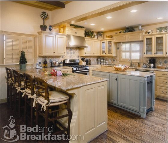 River Cottage Kitchen: Island Is Coordinating Color--not The Same As Rest Of