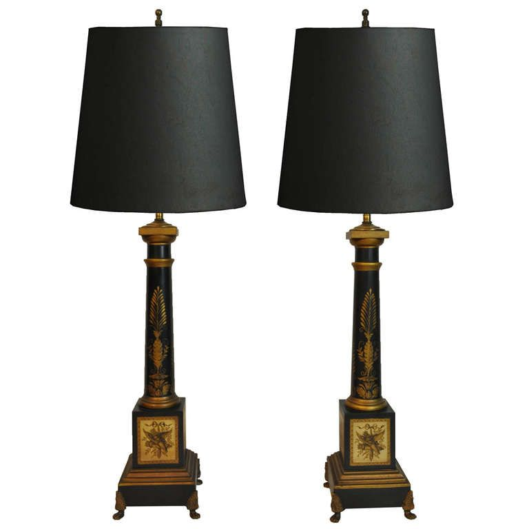 Pair of Vintage French Neoclassical Style Black & Gold Tole Column Form Table  Lamps - Pair Of Vintage French Neoclassical Style Black & Gold Tole Column