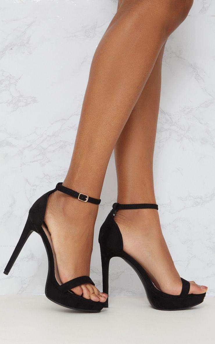 Black Platform Strap Heeled Sandal