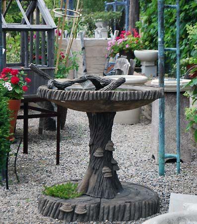 Large Hand Carved Concrete Faux Bois Birdbath | Online Garden Store