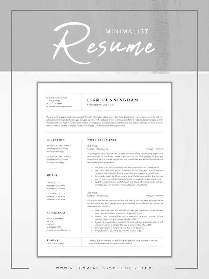 Minimalist Cv Design Standard Plain Resume Template For Corporate Jobs