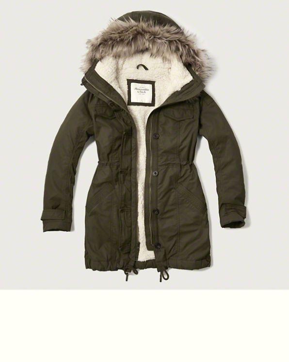 1009136db715 Nuevo Fitch Mujer Sherpa Abercrombie   Forrado Chaqueta de Abrigo Parka  Militar