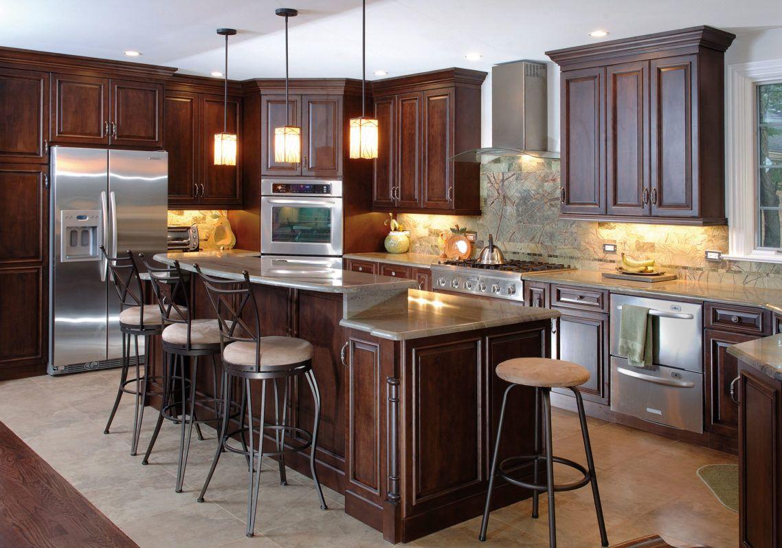 Alluring Wood Kitchen Cabinets Design With Dark Brown Varnish Wooden ...