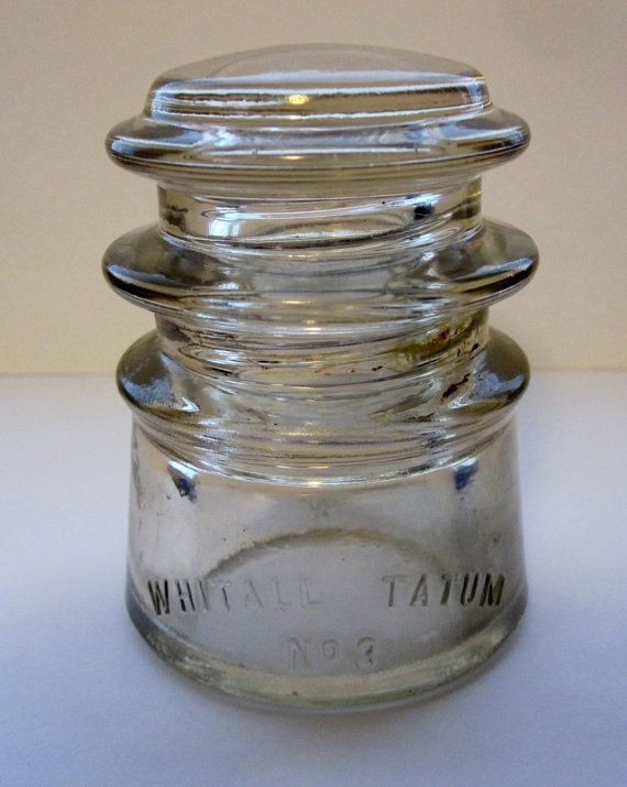 2c4f2c04b2fa Vintage Whitall Tatum No.3 Clear Glass Insulator