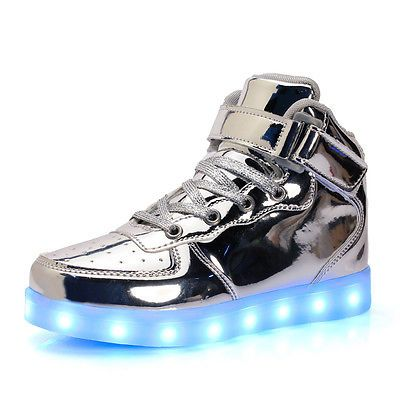 5ea3e0c4d45c SILVER Skechers Energy LED Kids  Boys  Girls Sneaker Light Up Top Shoes  Size 4